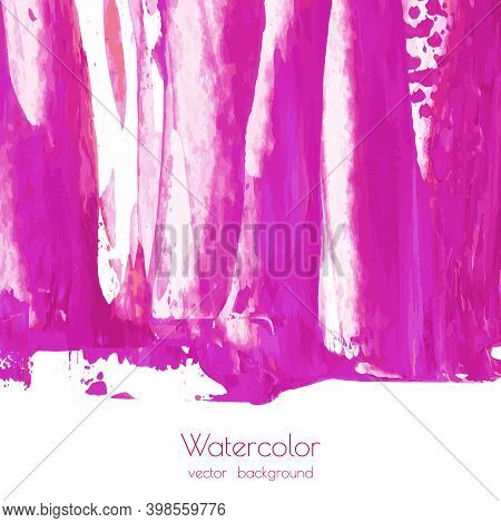 Fuchsia, Purple, Lilac Grunge Marble Watercolor Dry Brush Strokes Texture Hand Paint On White Backgr