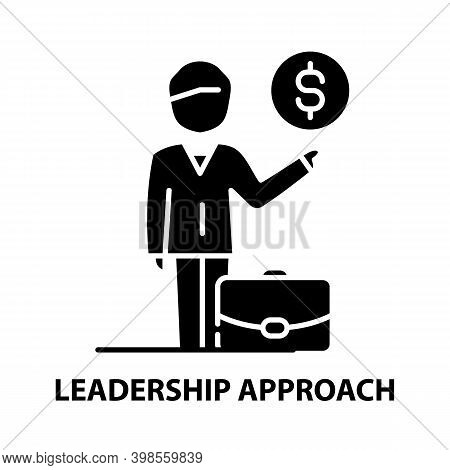 Leadership Approach Icon, Black Vector Sign With Editable Strokes, Concept Illustration