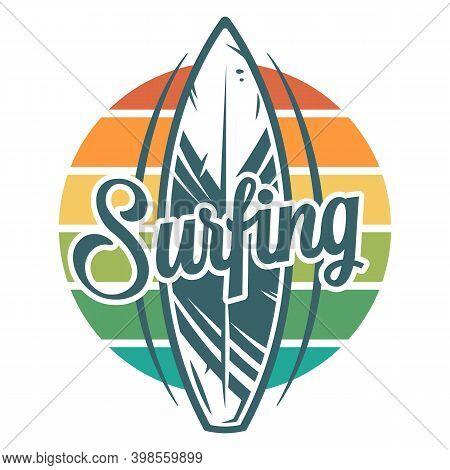 Surfboard Surfing Summer Print. Hawaii Board Logo