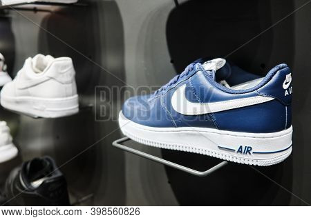 Nike Air Force One Sneakers On Store Shelf. Mersin, Turkey - November 2020
