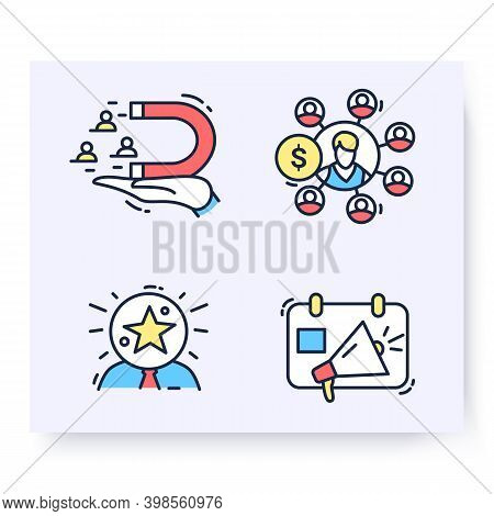 Color Set Of Customer Attraction Icons. Customer Acquisition. Client Attraction Retention, Awareness