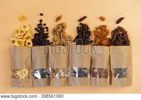 Mix Of Dried Fruits. Assorted Dried Fruits. Dietary Nutrition. Natural And Healthy Snack Food.