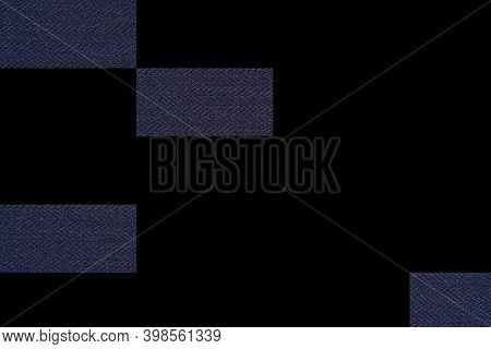 Abstract Graphic Black Background With Textured Rectangular Pieces Of Knitted Fabric Formed By A Com