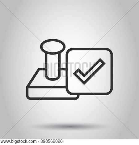 Approve Stamp Icon In Flat Style. Accept Check Mark Vector Illustration On White Isolated Background