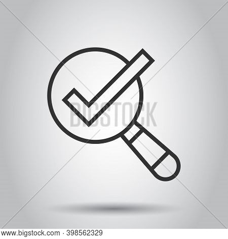 Check Mark With Magnifying Glass Icon In Flat Style. Loupe Accept Vector Illustration On White Isola