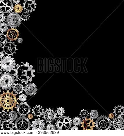 Vector Illustration Dark Background With White And Yellow Gears