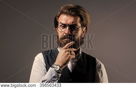 Time To Think. Stylish Mature Man Looking Modern. Mens Office Wardrobe. Fashionable Man Dressed In S