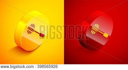 Isometric Tennis Racket Icon Isolated On Orange And Red Background. Sport Equipment. Circle Button.