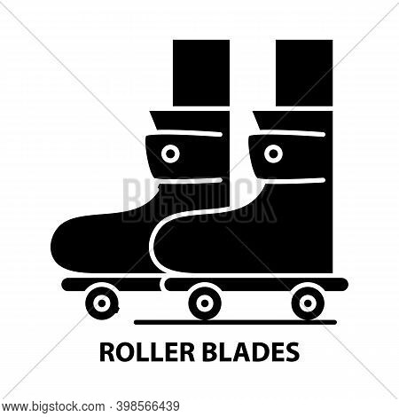 Roller Blades Icon, Black Vector Sign With Editable Strokes, Concept Illustration