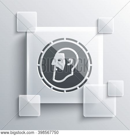 Grey Ancient Coin Icon Isolated On Grey Background. Square Glass Panels. Vector