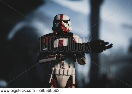 DEC 7 2020: Imperial Incinerator trooper from Star Wars The Mandalorian Disney Plus series - Hasbro action figure