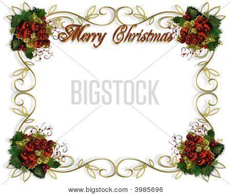 Christmas Border Frame 3D Text