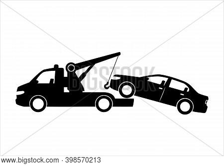 Tow Truck City Road Assistance Service Evacuator. Parking Violation. Road Sign - No Parking. Sign Of