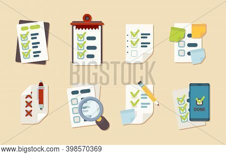 Checklist Icons. Notepad Schedule Customer Marks Research Clipboard Vector Business Checklist Collec