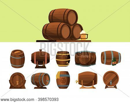 Barrels. Wooden Cartoon Barrel For Alcohol Production Packages For Wine An Beer Vector Pirate Symbol