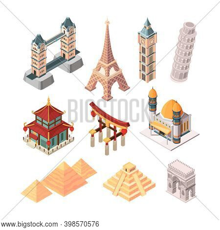 Historical Famous Landmarks. Isometric Symbols For Travellers Buildings Statue Bridges Pyramid World