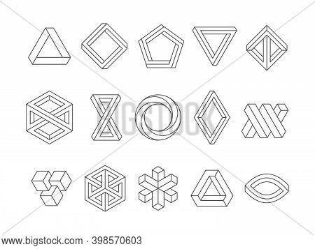 Illusion Shapes. 3d Geometrical Infinity Loop Triangles Hexagon Impossible Perspective Vector Abstra