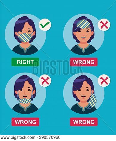 How To Wear Medical Face Mask Properly. Instruction For Personal Hygiene During Coronavirus. Girl Ch