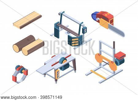 Lumber Isometric. Sawmill Items And Workers Wood Workman Vector Isometric Collection. Illustration L