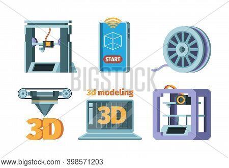 3d Printing Icon. Dimensional Printer Prototypes Future Technology Smart Print Technics Vector Flat