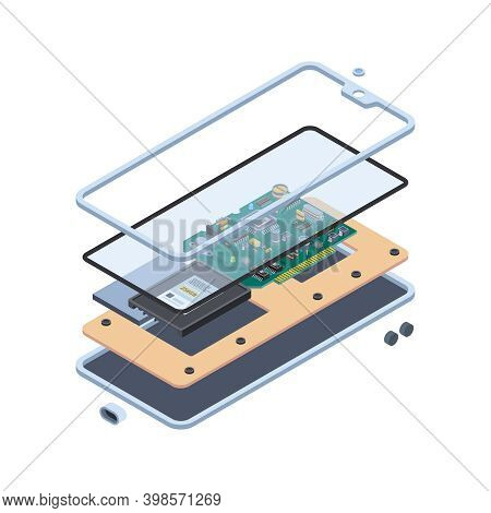 Smartphone Hardware. Isometric Layers Of Inside Touch Screen Gadgets Or Tablet Pc Motherboard Mobile