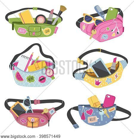 Trendy Waist Bags. Fashioned Fancy Wallets For Belt With Personal Accessories Phone Money Cards Vect