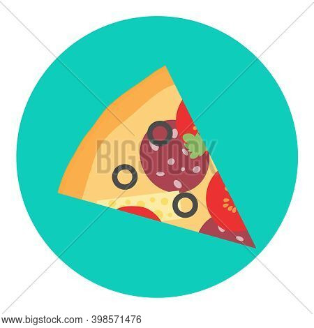 Pizza, Slice Of Pizza Isolated On A Green Background. Vector Illustration. Vector.