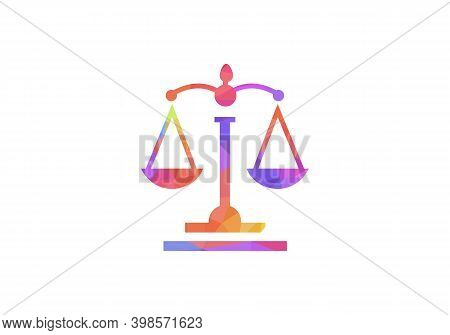 Law Balance Sign Logo Design Template. Law Firm With Leaf Logo Vector