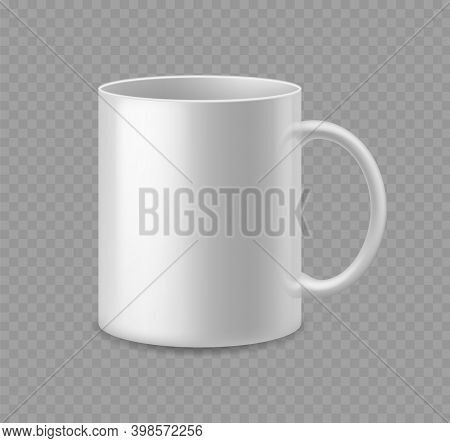 Realistic Coffee Or Tea Cup. White Ceramic Mug Mockup Side View Empty Utensil Advertise And Presenta
