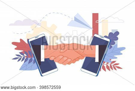 Business Deal. Handshaking Biz Partners, Campaign Opening. Startup Financing Creative Project, Inves