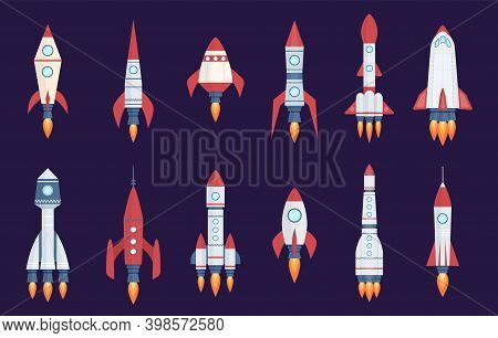 Rocket Icons. Starting Spaceships And Spacecrafts, Speed Shuttles In Cosmos Collection. Startup Proj