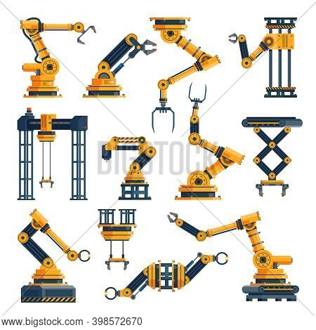 Robotic Arms. Technological Factory Equipments Elements, Automatic Electronic Manipulators Packaging