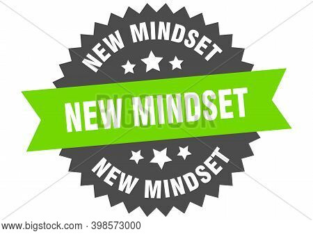 New Mindset Round Isolated Ribbon Label. New Mindset Sign