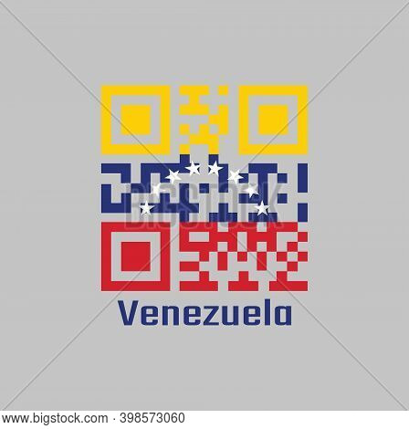 Qr Code Set The Color Of Venezuela Flag. Yellow Blue And Red With An Arc Of Eight White Stars Center