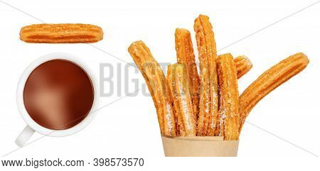 Churro Isolated On White Background. Traditional Spanish Food. Various Churro Pastry  With Chocolate