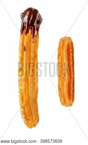 Churro Isolated On White Background. Traditional Spanish Food. Sweet  Churro Pastry Top View. Flat L