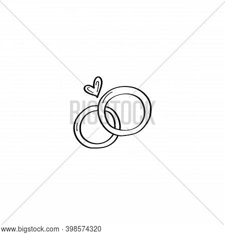 A Hand-drawn Pair Of Wedding Rings. Wedding Rings Doodle Illustration. Vector Design Element For Gre