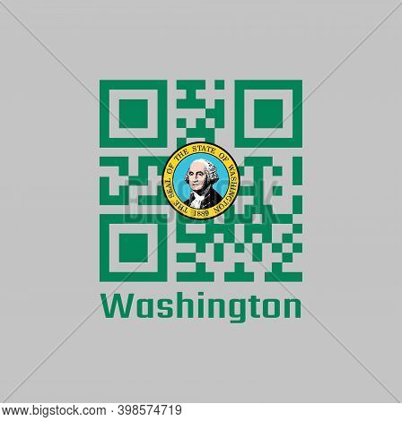 Qr Code Set The Color Of Washington Flag. The States Of America. The State Seal, Displaying An Image