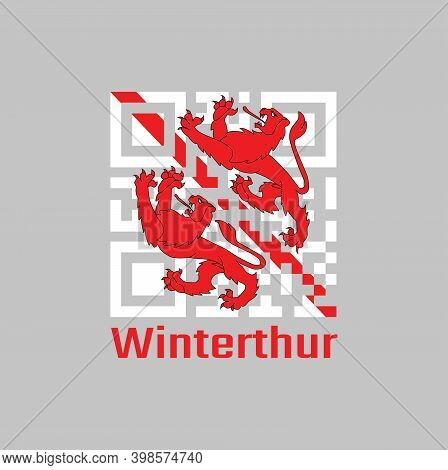Qr Code Set The Color Of Winterthur Flag, The Canton Of Switzerland With Text Winterthur.