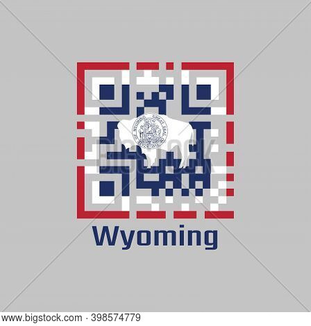 Qr Code Set The Color Of Wyoming Flag. The States Of America. The Seal On American Bison On Blue Wit