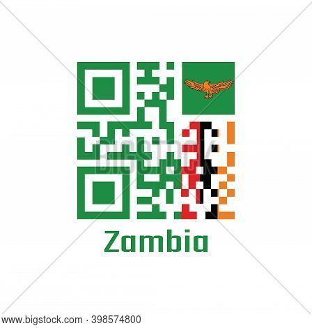 Qr Code Set The Color Of Zambia Flag. A Green Field With An Orange Colored Eagle In Flight Over A Re