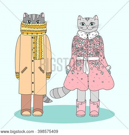 Humanized Winter Cats. Two Cute Cartoon Kitties Dressed In Warm Clothes. Outline Color Filled Vector