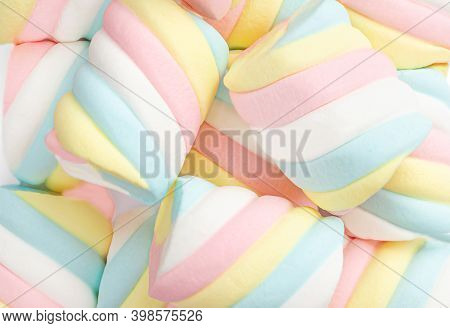 Marshmallow Pattern Background.  Pastel Colored  Marshmallows Sweet Dessert Food Closeup