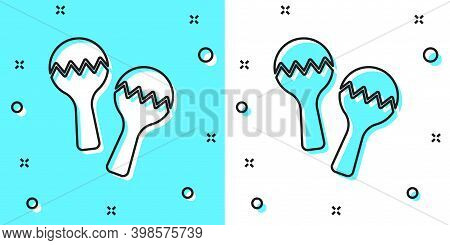 Black Line Maracas Icon Isolated On Green And White Background. Music Maracas Instrument Mexico. Ran