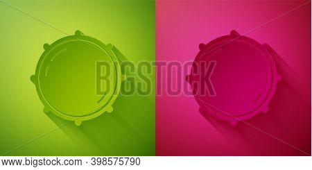 Paper Cut Dial Knob Level Technology Settings Icon Isolated On Green And Pink Background. Volume But