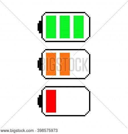 Pixel Battery Vector Game Art Flat Icon.