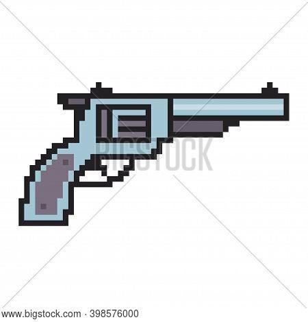 Pixel Gun Vector Game Art Flat Icon.