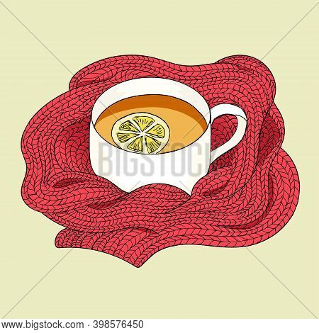 Tea With Lemon Wrapped In A Red Scarf. Tea Sketch. Hand Drawing Tea Cup. Vector Illustration Tea Cup