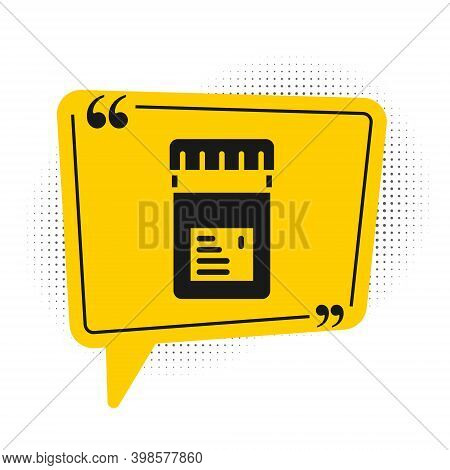 Black Biologically Active Additives Icon Isolated On White Background. Yellow Speech Bubble Symbol.