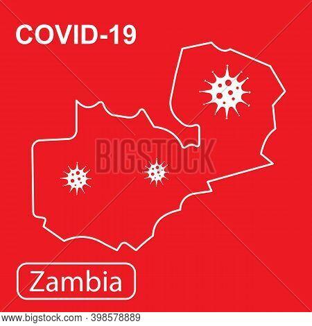Map Of Zambia Labeled Covid-19. Vector Illustration Of A Virus, Coronavirus, Epidemiology.